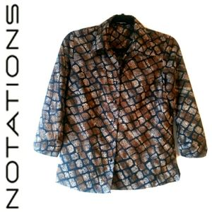 NOTATIONS 2 IN 1 BLOUSE - BROWN & BLACK
